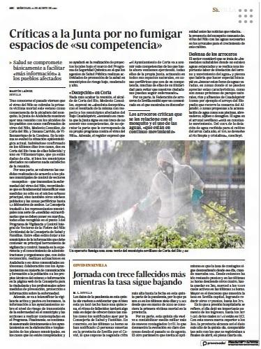 ABC edición Papel: «Los arroceros critican que se les relacione con el mosquito y el uso de las aguas «que están en continuo movimiento»