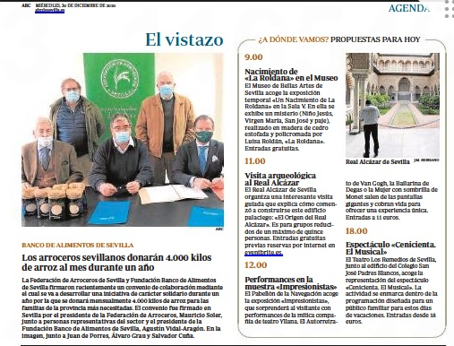 ABC de Sevilla, edición papel: Los arroceros sevillanos donarán 4000 kilos de arroz al mes durante un año
