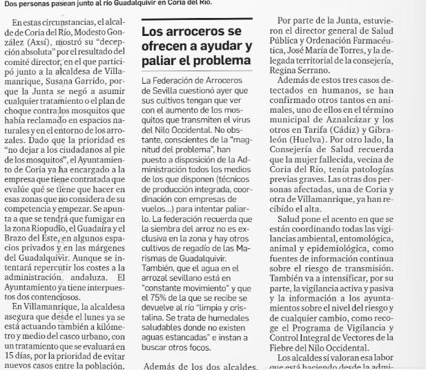 Diario de Sevilla, edición Papel: «Los arroceros se ofrecen a ayudar y paliar el problema».