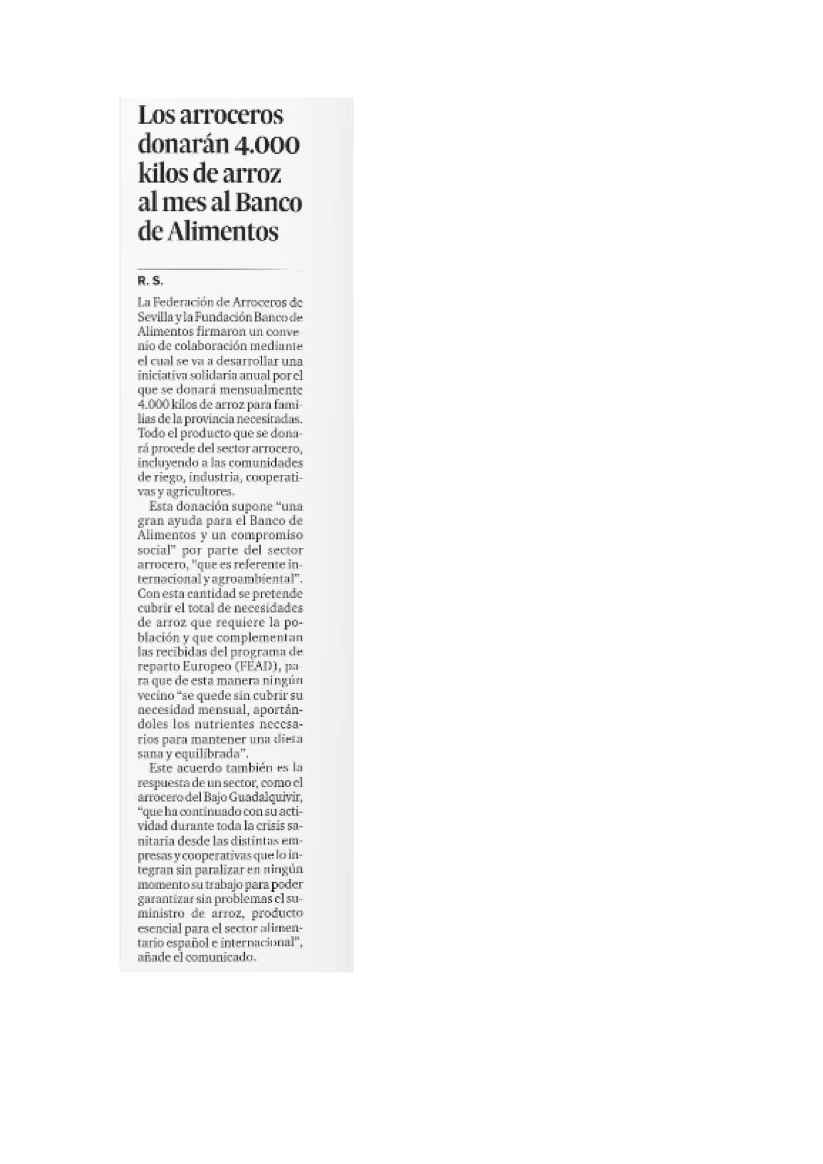 Diario de Sevilla, Edición Papel: Los Arroceros donarán 4000 kilos de arroz al mes al banco de Alimentos.