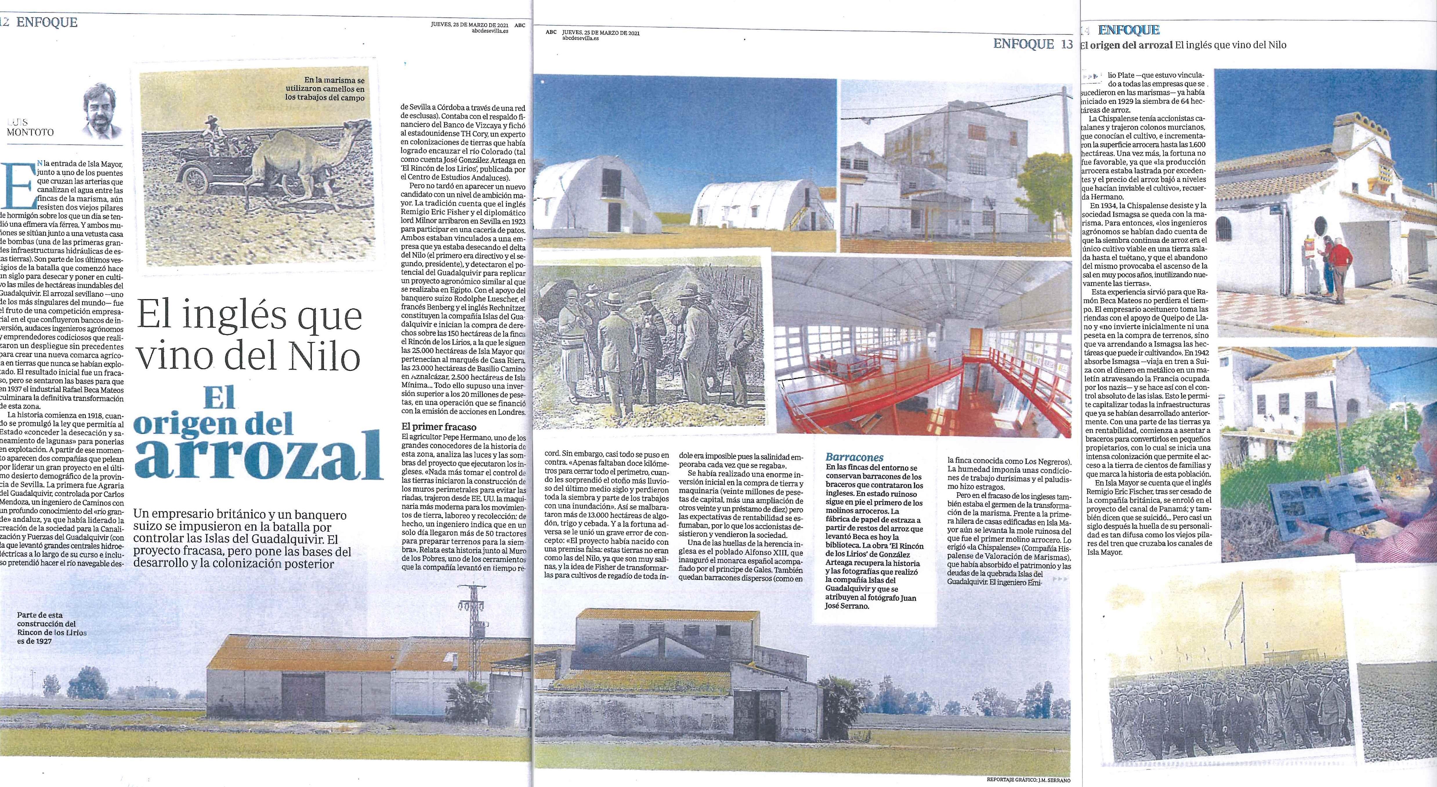 ABC Sevilla, edición papel: El origen del arrozal. El inglés que vino del Nilo